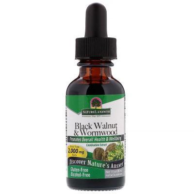 Черный грецкий орех и полынь, без спирта, Black Walnut & Wormwood, Nature's Answer, 2000 мг, 30 мл