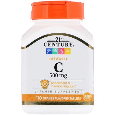 Витамин С, Chewable C-500, 21st Century, 110 жевательных таблеток