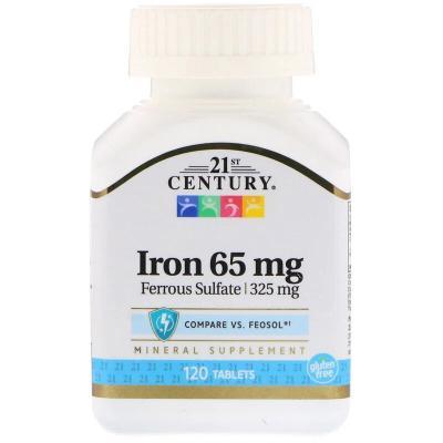 Железо, Iron, 21st Century, 65 мг, 120 таблеток