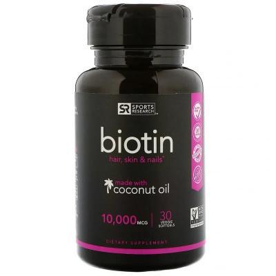 Биотин с кокосовым маслом, Sports Research, 10000 мкг, 30 растительных мягких таблеток