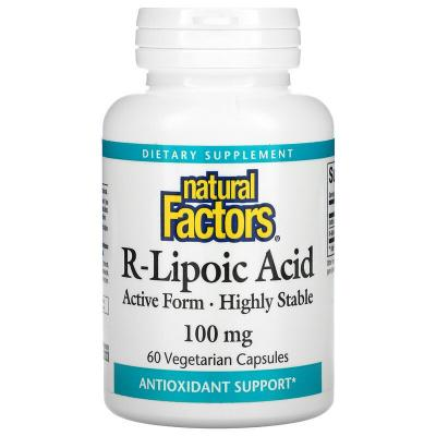 Альфа-липоевая кислота, R-Lipoic Acid, Natural Factors, 100 мг, 60 веганских капсул