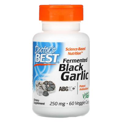 Чёрный чеснок, Fermented Black Garlic ABG10+, Doctor's Best, 250 мг, 60 капсул