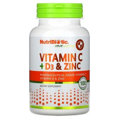 Витамин С + Д3, Immunity, Vitamin C + D3 & Zinc, NutriBiotic, 100 капсул