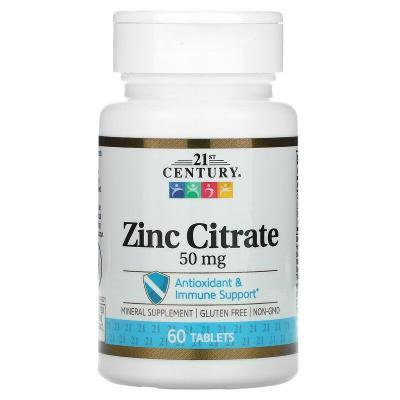 Цинк цитрат, Zinc Citrate, 21st Century, 50 мг, 60 таблеток