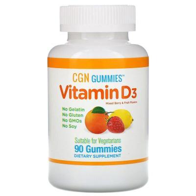 Жевательные конфеты с витамином D3, со вкусом ягод и фруктов, California Gold Nutrition, 90 жевательных конфет