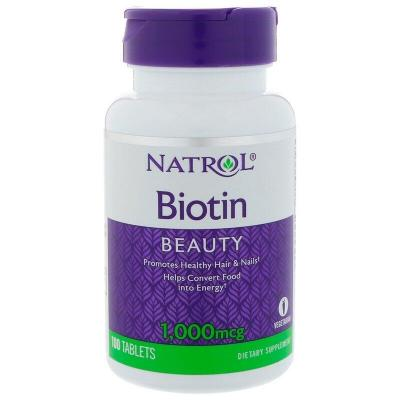 Биотин, Biotin, Natrol, быстрорастворимые, 1000 мкг, 100 таблеток