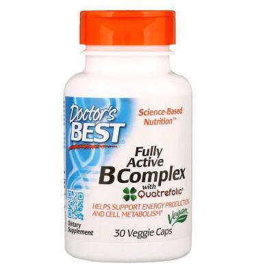 Комплекс активных витаминов группы B с Quatrefolic, B Complex, Doctor's Best, 30 капсул