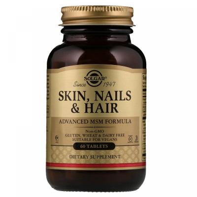 Витамины для волос, кожи и ногтей, Skin, Nails, Hair, Solgar, 60 таблеток