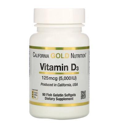 Витамин D3, Vitamin D3, California Gold Nutrition, 125 мкг (5000 МЕ), 90 рыбно-желатиновых капсул