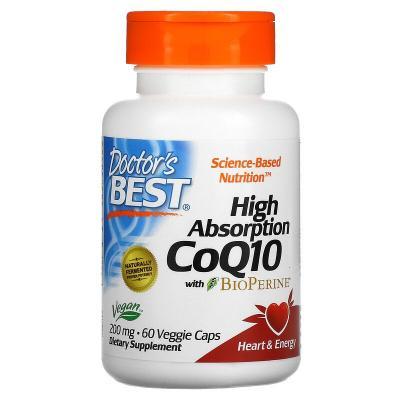Коэнзим Q10 с высокой степенью всасывания с биоперином, CoQ10 with BioPerine, Doctor's Best, 200 мг, 60 вегетарианских капсул
