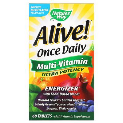 Мультивитамины для приема один раз в день, Живой! Nature's Way, 60 таблеток