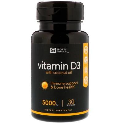 Витамин D3 с кокосовым маслом, Sports Research, 125 мкг (5000 МЕ), 30 мягких таблеток