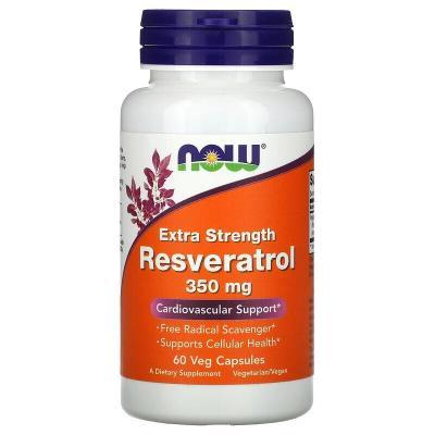 Ресвератрол, Extra Strength Resveratrol, Now Foods, 350 мг, 60 капсул
