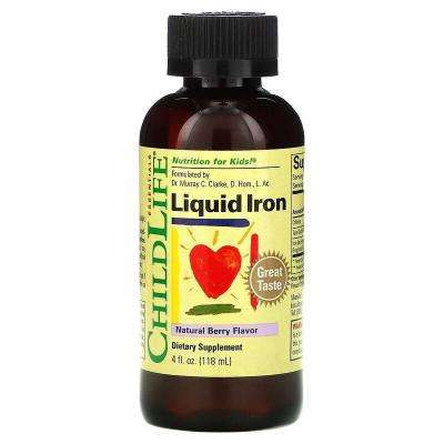 Железо, натуральные ягоды, Liquid Iron, Natural Berry, Childlife Clinicals, 118 мл