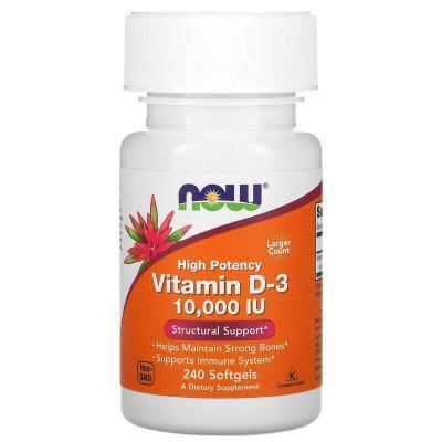 Витамин Д3, High Potency Vitamin D-3, Now Foods, 10000 МЕ, 240 желатиновых капсул