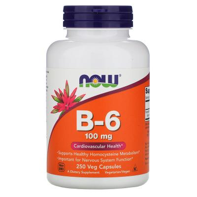 Витамин В6, Vitamin B-6, Now Foods, 100 мг, 250 капсул