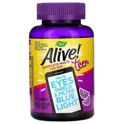Витамины для девочек-подростков, Alive! Teen Multi for Her,  Nature's Way, 50 Gummies
