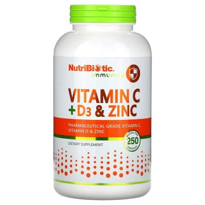 Витамин С + Д3, Immunity, Vitamin C + D3 & Zinc, NutriBiotic, 250 капсул
