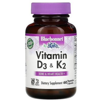 Витамины D3 и K2, Vitamin D3 & K2, Bluebonnet Nutrition, 60 капсул
