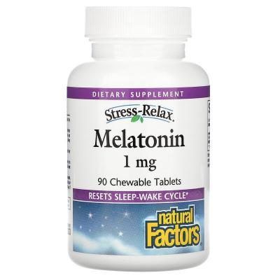 Мелатонин, Melatonin, Natural Factors, 1 мг, 90 жевательных таблеток