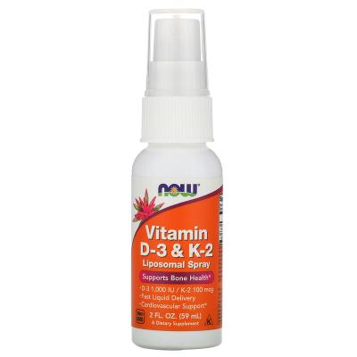 Витамин D3 + К2, липосомный спрей для здоровья костей и сердца, Vitamin D-3 & K-2, Now Foods, 59 мл