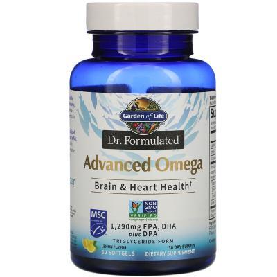 Омега-3, лимон, Advanced Omega, Garden of Life, Dr. Formulated, 60 капсул