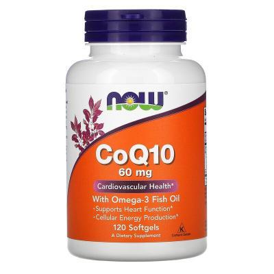 Коэнзим Q10 с рыбьим жиром с омега-3, Now Foods, 60 мг, 120 капсул