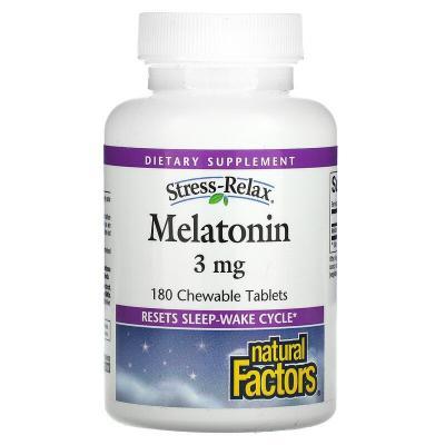 Расслабляющий стресс, мелатонин, Stress-Relax, Melatonin, Natural Factors, 3 мг, 180 жевательных таблеток