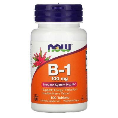B-1, Now Foods, 100 мг, 100 таблеток