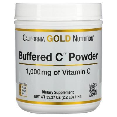 Некислый буферизованный витамин C в форме порошка, Buffered C Powder, California Gold Nutrition, 1000 мг, 1 кг