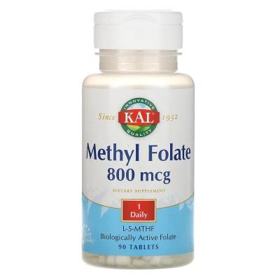 Метилфолат, Methyl Folate, Kal, 800 мкг, 90 таблеток