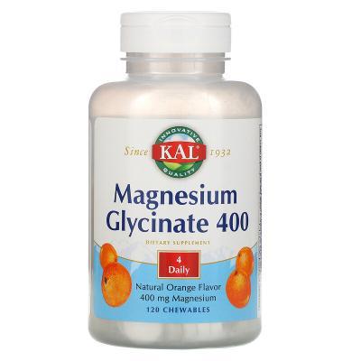 Магний глицинат, вкус апельсина, Magnesium Glycinate, Kal, 400 мг, 120 жевательных таблеток