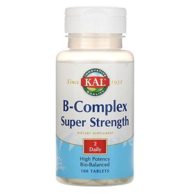 Витамины группы В, B-Complex Super Strength, KAL, 100 таблеток