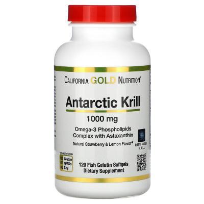 Масло антарктического криля, с астаксантином, со вкусом натуральной клубники и лимона, Antarctic Krill, California Gold Nutrition, 1000 мг, 120 капсул из рыбьего желатина