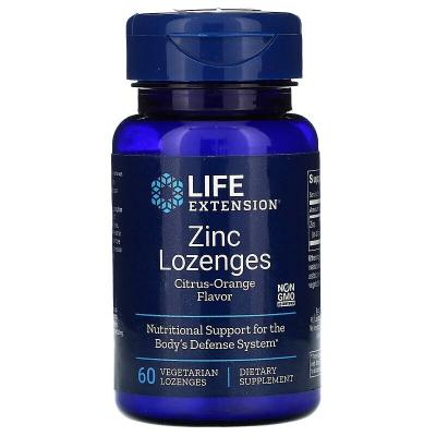 Леденцы цинка, Zinc Lozenges, Life Extension, вкус апельсин, 60 конфет