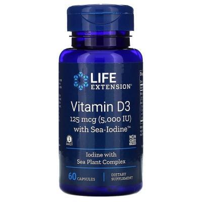 Витамин D3 с йодом, Vitamins D3 with sea-iodine, Life Extension, 125мкг/1000 мкг 60 капсул