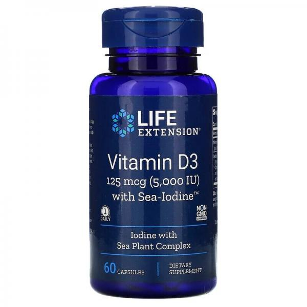Витамин D3 с йодом, Vitamins D3 with sea-iodine, Life Extension, 125мкг/1000 мкг 60 капсул