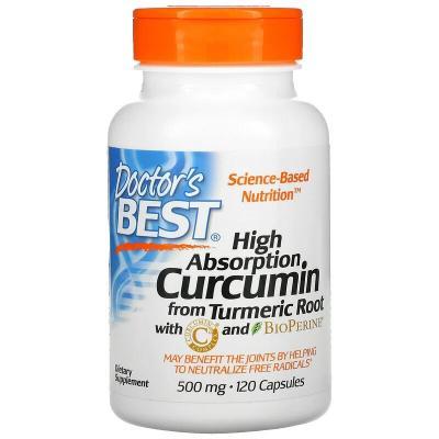 Легкоусвояемый куркумин, High Absorption Curcumin, Doctor's Best, 500 мг, 120 капсул