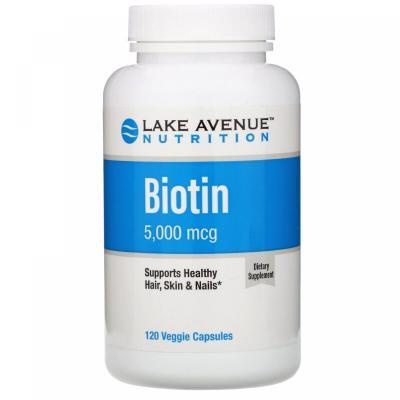 Биотин, Biotin, Lake Avenue Nutrition, 5000 мкг, 120 капсул