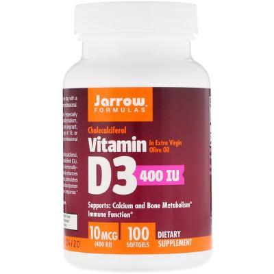 Витамин Д3 (холекальциферол), Vitamin D3, Jarrow Formulas, 400 МЕ, 100 капсул