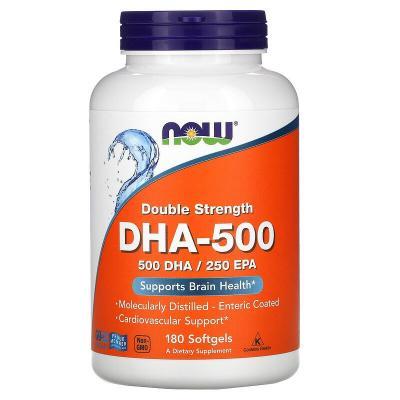 Рыбий жир, двойная сила, DHA-500, Now Foods, 180 капсул