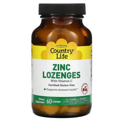Цинк и витамин С, вишневый вкус, Zinc Lozenges, Vitamin C, Country Life, 60 леденцов