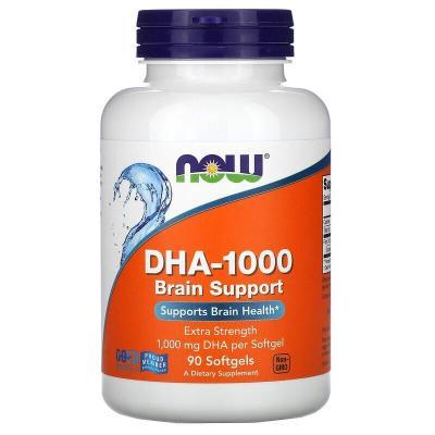 ДГК-1000, для улучшения работы мозга, с повышенной силой действия, DHA-1000, Now Foods, 1000 мг, 90 мягких таблеток