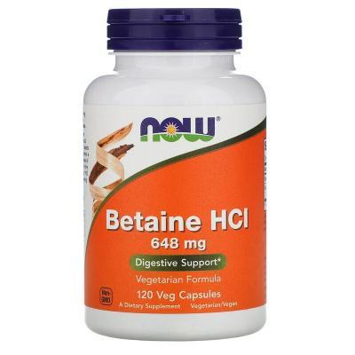 Бетаин гидрохлорид, Betaine HCL, Now Foods, 648 мг, 120 капсул