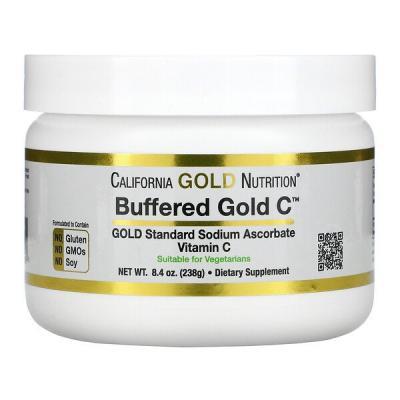 Некислый буферизованный витамин C в форме порошка, аскорбат натрия, Buffered Gold C, California Gold Nutrition, 238 г (8,4 унции)