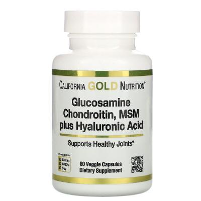 Глюкозамин, хондроитин, МСМ, гиалуроновая кислота, Glucosamine, California Gold Nutrition, 60 капсул