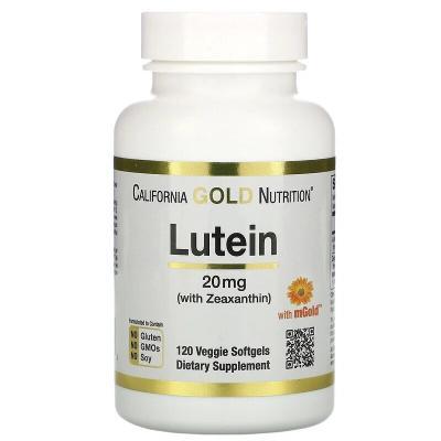 Лютеин с зеаксантином, Lutein with Zeaxanthin, California Gold Nutrition, 20 мг, 120 мягких таблеток