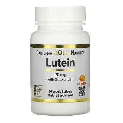Лютеин с зеаксантином, Lutein with Zeaxanthin, California Gold Nutrition, 20 мг, 60 мягких таблеток