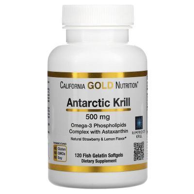 Масло криля с астаксантином, Krill Oil, with Astaxanthin, California Gold Nutrition, 500 мг, 120 капсул