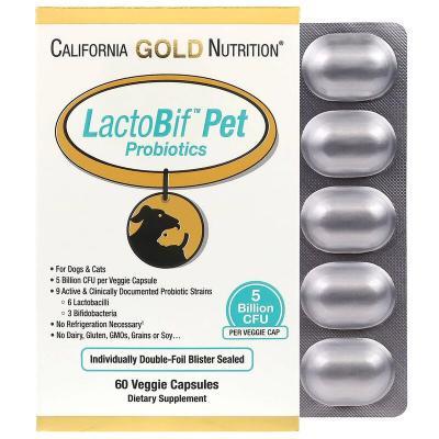 Пробиотики для котов и собак, LactoBif Pet, 5 млрд КОЕ, California Gold Nutrition, 60 капсул